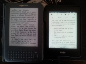 Kindle keyboard and Kindle Paperwhite screen shot taken with phone camera