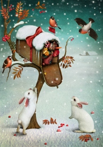 Mailbox with Christmas gifts in winter forest. Fabulous illustration or greeting card with Christmas. Computer graphics.