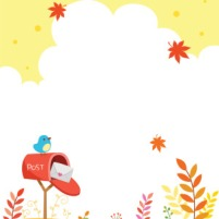 autumn-background-with-a-little-bird-on-mailbox-vector-id821315704